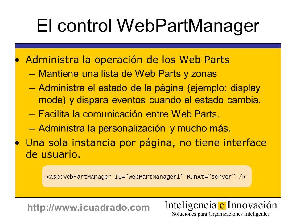 http://www.icuadrado.com El control WebPartManager Administra la operación de los Web Parts –Mantiene una lista de Web Parts y zonas –Administra el es