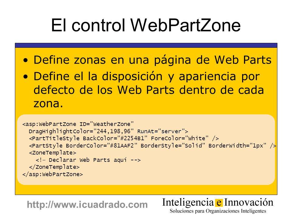 http://www.icuadrado.com El control WebPartZone Define zonas en una página de Web Parts Define el la disposición y apariencia por defecto de los Web P