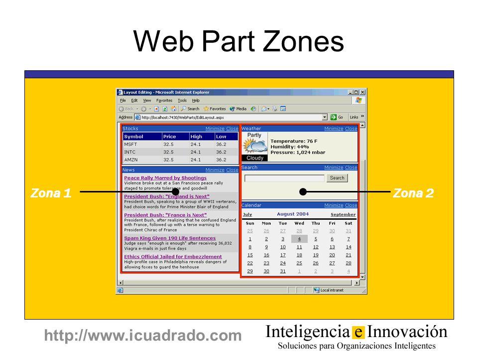 http://www.icuadrado.com Web Part Zones Zona 1Zona 2