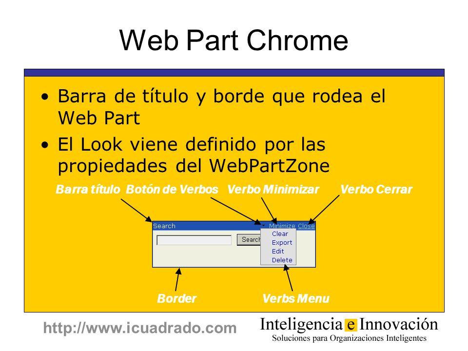http://www.icuadrado.com Web Part Chrome Barra de título y borde que rodea el Web Part El Look viene definido por las propiedades del WebPartZone Barr