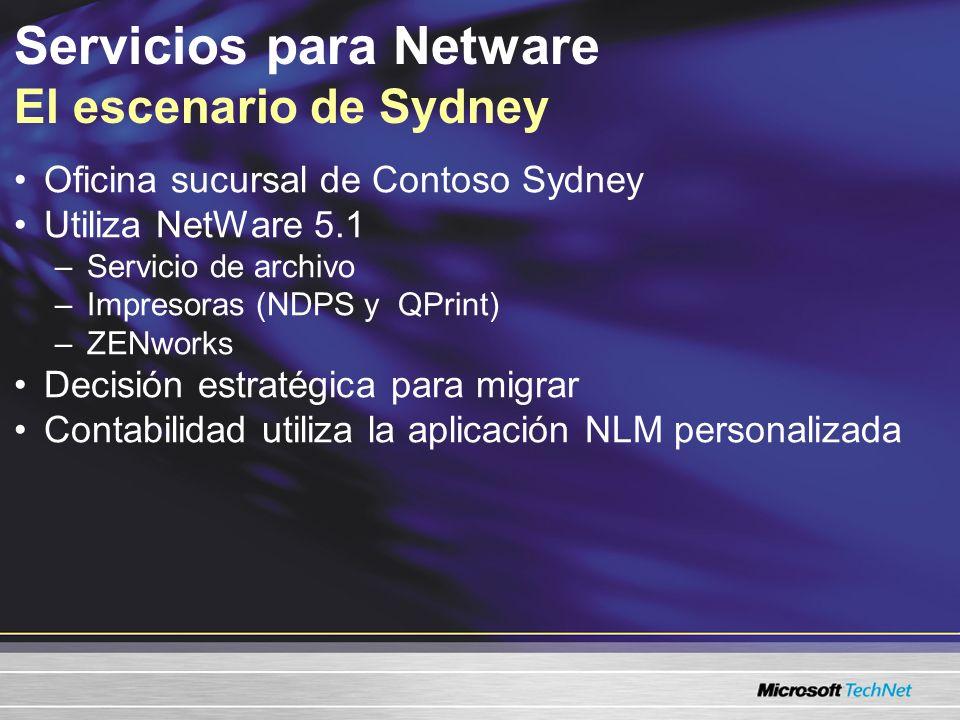 Servicios para Netware Soporte de Windows para NetWare Servicios del cliente para NetWare Servicios para NetWare 5.03 Mensajes Microsoft Identity Information Server –Sincronización del director (metadirectorio) También consulte la Guía de interoperabilidad y migración de Exchange 2003, Microsoft.com/technet/prodtechnol/exchange/ guides/e2k3InterOpMig