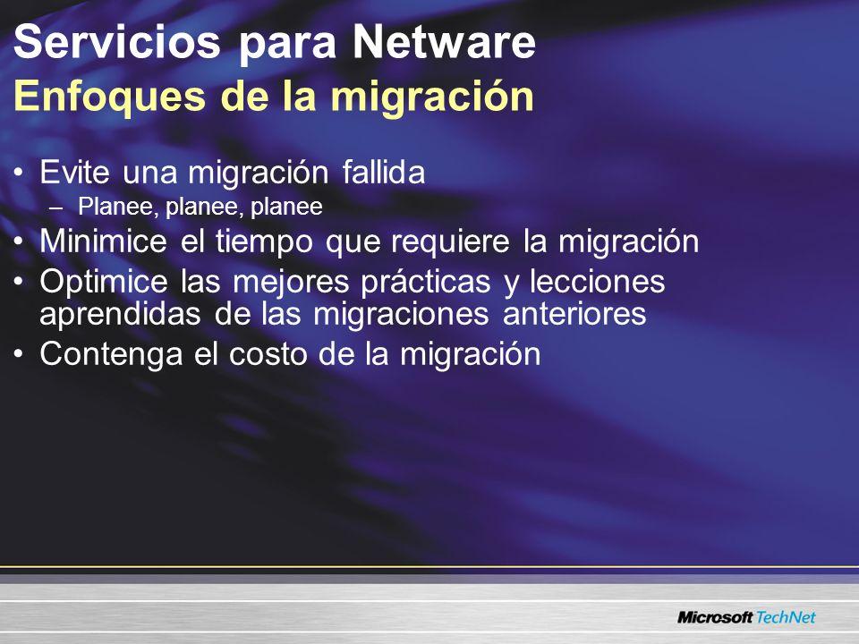 Sincroniza Active Directory® con NDS / eDirectory Reduce la administración del directorio Simplifica la migración a Active Directory Migra los archivos NetWare a los servidores Windows Acelera los procesos de migración Conserva la información del control de acceso Servicios de sincronización de directorio de Microsoft Utilidad de migración de archivos Servicios para Netware Descripción general del producto Consulte Servicios para Netware 5.03, microsoft.com/windowsserver2003/sfn/default.mspx