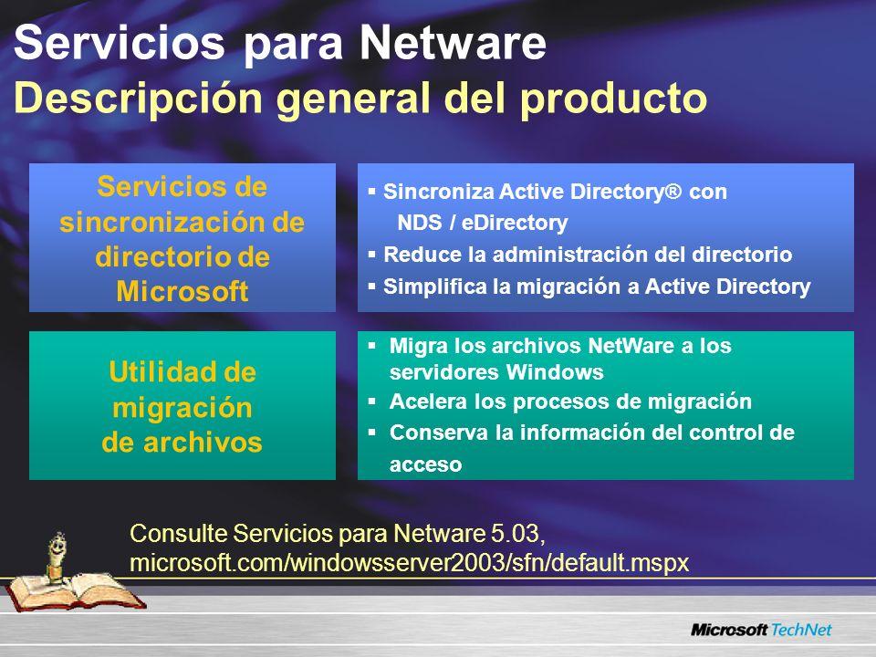 Servicios para Netware Cambios de servicios para el 2000 Archivo e impresión para NetWare ya no se incluye –Utilice los Servicios del cliente para NetWare Sincronización completa del usuario –Número de fax, dirección postal –Envío y reverrsión Dominios de Windows 2003 –Posibles contenedores anidados en modo nativo