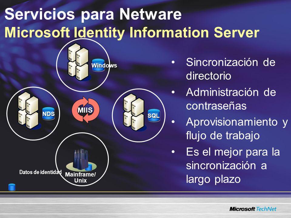 Servicios para Netware Microsoft Identity Information Server Sincronización de directorio Administración de contraseñas Aprovisionamiento y flujo de trabajo Es el mejor para la sincronización a largo plazo Datos de identidad NDS NDS SQL Windows Mainframe/Unix MIIS
