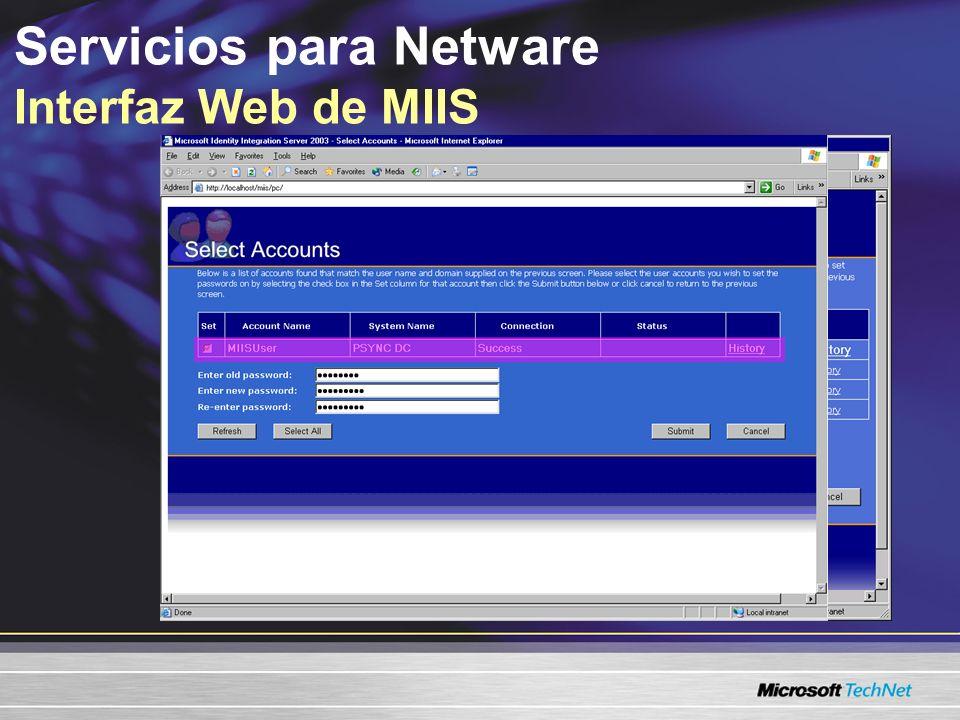Administración más sencilla mediante una estructura consolidada de dominio La capacidad de delegar el control administrativo Menor impacto en el ancho de banda de la red –Duplicación de objetos en todos los enlaces WAN Uso compartido simplificado de la red –Mantiene el recurso cerca del usuario Servicios para Netware Metas de diseño para Active Directory También consulte el Kit de implementación de Windows Server 2003, microsoft.com/resources/documentation/WindowsServ/2003/ all/deployguide/en-us/