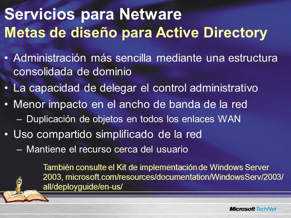 Administración más sencilla mediante una estructura consolidada de dominio La capacidad de delegar el control administrativo Menor impacto en el ancho de banda de la red –Duplicación de objetos en todos los enlaces WAN Uso compartido simplificado de la red –Mantiene el recurso cerca del usuario Servicios para Netware Metas de diseño para Active Directory También consulte el Kit de implementación de Windows Server 2003, /resources/documentation/WindowsServ/2003/all/deployguide/en-us/