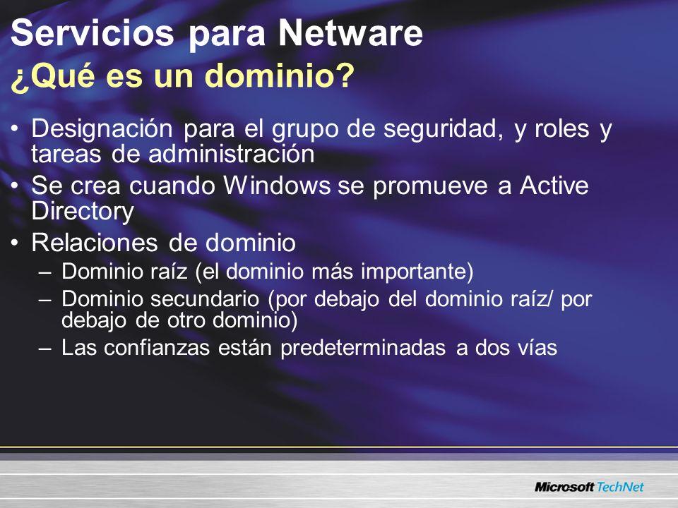 Duplicación entre dominios Límite total de seguridad Comparte un esquema común El dominio raíz es el titular predeterminado del catálogo global y las relaciones de confianza Servicios para Netware Definición de un bosque