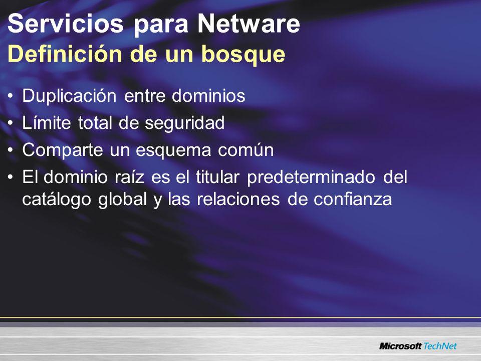 Es necesario administrar la seguridad a nivel dominio –Política de las contraseñas Control de la duplicación de la base de datos Puede compartir información –Servicio único de Exchange Servicios para Netware Bosque único con múltiples dominios