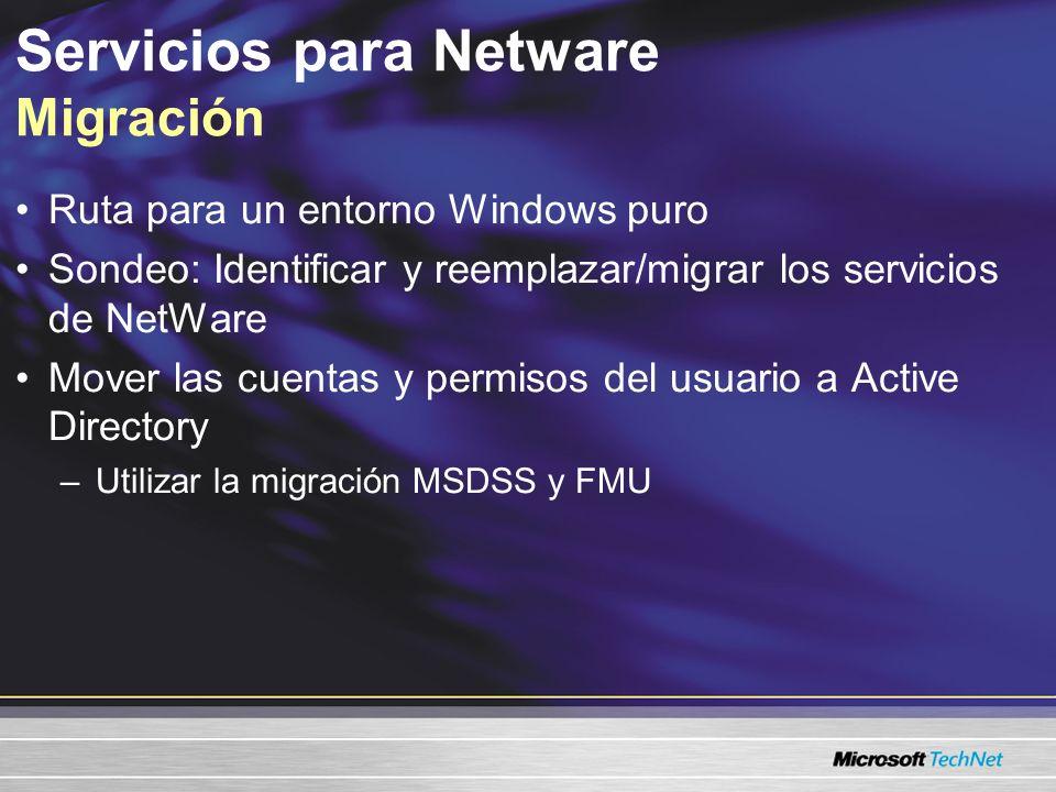 Servicios para Netware Sincronización Entorno compartido de Windows/Novell Experiencia sin problemas para el usuario Duplicar usuarios y grupos en NDS y AD Utilizar la sincronización de una o dos vías de MSDSS