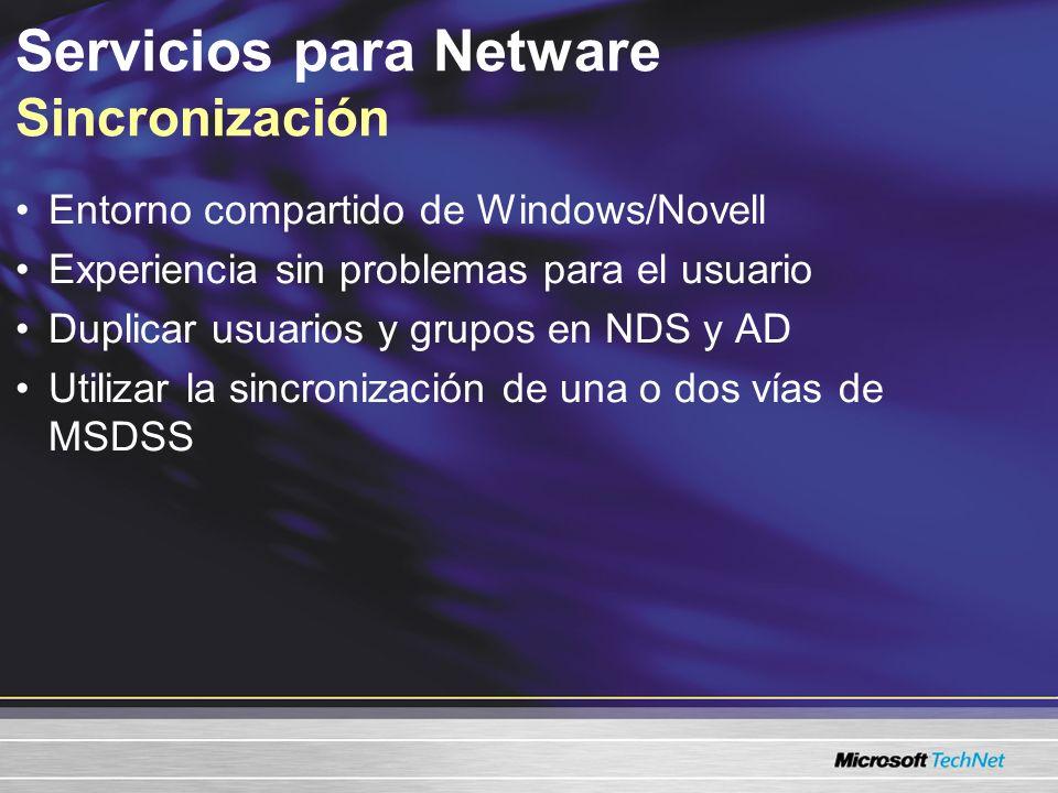 Servicios para Netware Lista de verificación previa a la sincronización Evalúa la infraestructura de NDS –Recursos NDS –Vínculos LAN y WAN Identificar los recursos para la sincronización Diseñar Active Directory Instalar las herramientas de migración –Controlador de dominio –MSDSS Consulte migrar Novell NetWare a Windows Server 2003, página 15.