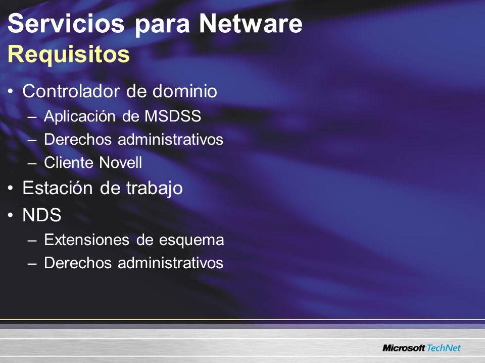 Servicios para Netware Requisitos Controlador de dominio –Aplicación de MSDSS –Derechos administrativos –Cliente Novell Estación de trabajo NDS –Extensiones de esquema –Derechos administrativos