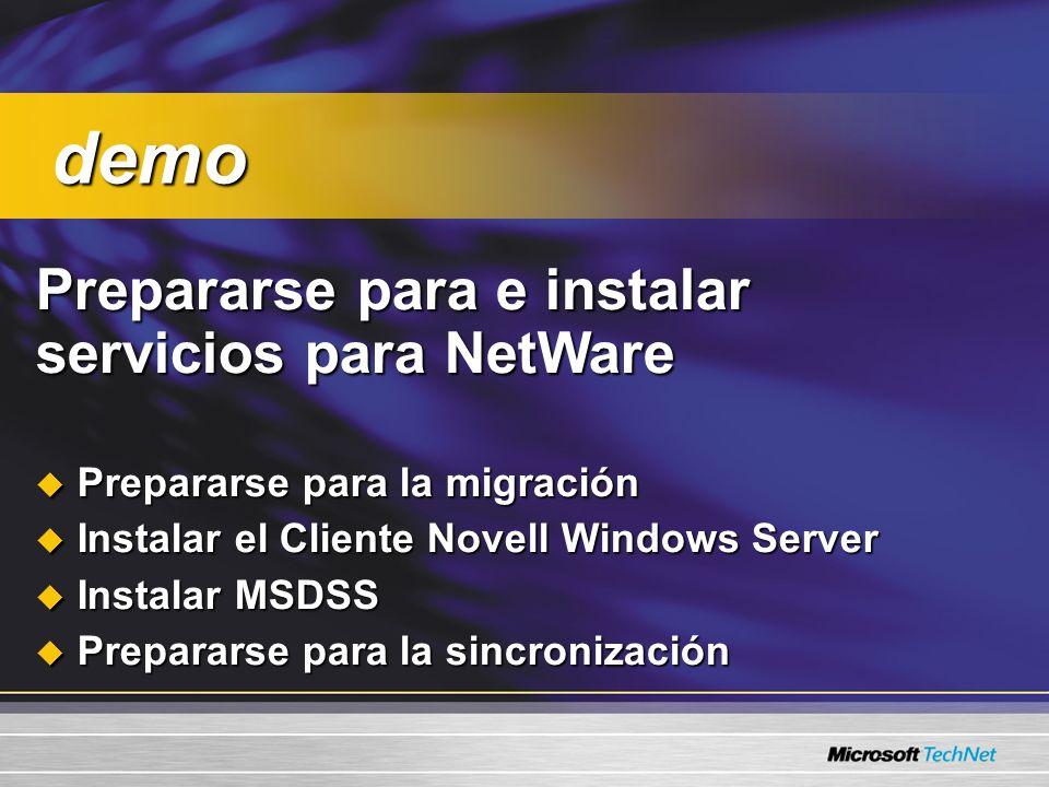 Agenda Prepararse para los Servicios para Netware Sincronización y migración del directorio Migrar recursos de archivo Configuración de la estación de trabajo y resolución de problemas de migración