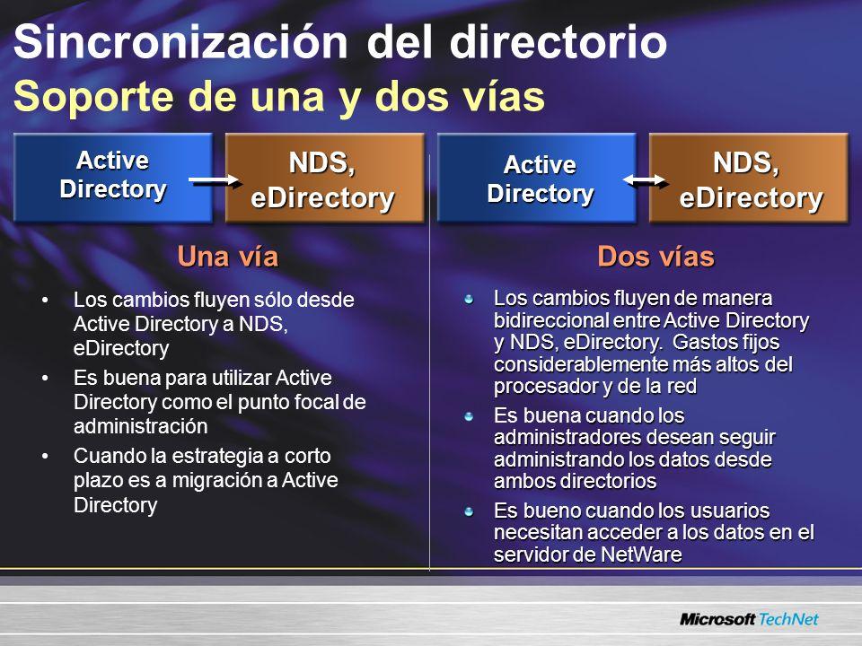 ActiveDirectory NDS,eDirectory Una vía Los cambios fluyen de manera bidireccional entre Active Directory y NDS, eDirectory.
