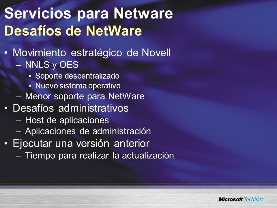 Servicios para Netware Desafíos de NetWare Movimiento estratégico de Novell –NNLS y OES Soporte descentralizado Nuevo sistema operativo –Menor soporte para NetWare Desafíos administrativos –Host de la aplicación –Aplicaciones de administración Ejecutar una versión anterior –Tiempo para realizar la actualización