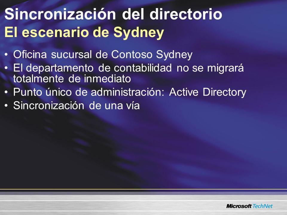 Sincronización y migración del directorio Sincronización y migración del directorio Sincronización de una vía Después de la sincronización Modificar un objeto de Active Directory y forzar la sincronización demo demo