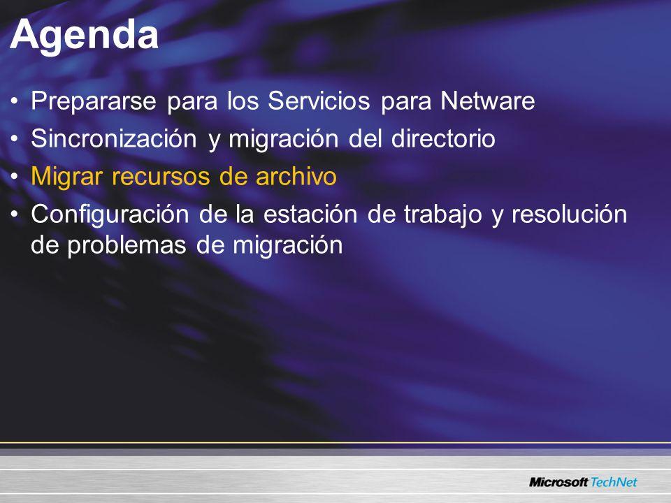 Migrar recursos de archivo Razones para la migración Costo de soporte, costo de migración Migrar al sistema de archivo de Windows –NTFS –Sistema distribuido de archivos –Instantáneas de volumen El inicio de sesión único es menos complejo Consulte microsoft.com/windows2003 y Guía de planeación para la migración de NetWare a Windows 2000 Server.