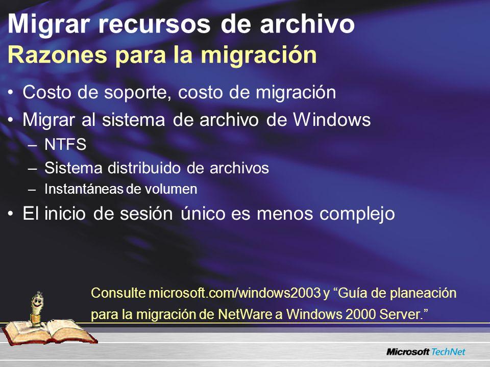 Migrar recursos de archivo Razones para la migración Costo de soporte, costo de migración Migrar al sistema de archivo de Windows –NTFS –Sistema distribuido de archivos –Instantáneas de volumen El inicio de sesión único es menos complejo Consulte www.microsoft.com/windows2003 y Guía de planeación para la migración de NetWare a Windows 2000 Server.
