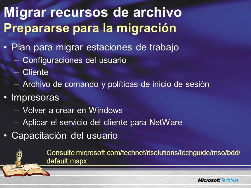 Migrar recursos de archivo Descripción de la utilidad de migración de archivos Mantiene los permisos de archivo y ACLs Mantiene los permisos de archivo y ACLs Soporte granular de correlación Soporte granular de correlación Integrado con el servicio de sincronización de MSDSS Integrado con el servicio de sincronización de MSDSS Conserva la información de control de acceso Un punto central de administración Un punto central de administración Soporte incremental de migración Soporte incremental de migración Respalda los protocolos TCP/IP e IPX/SPX y varias versiones de NetWare Respalda los protocolos TCP/IP e IPX/SPX y varias versiones de NetWare Simplifica la administración de migración Acelera los procesos de migración Mueve los archivos NetWare a Active Directory Mueve los archivos NetWare a Active Directory Soporte a múltiples volúmenes Soporte a múltiples volúmenes Soporte a múltiples destinos Soporte a múltiples destinos