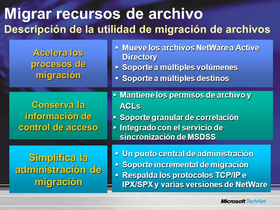 FMU permite migrar múltiples archivos de NetWare Fileserver con rapidez a los servidores Windows Soporte a múltiples destinos NetWare Servidor de archivos FMU Windows Server Servidor de archivo A B C D Carpeta A1 Carpeta A2 Carpeta B3 Carpeta B4 Carpeta A1 Carpeta A2 Carpeta B3 Carpeta B4 Migrar recursos de archivo Acelerar el proceso de migración