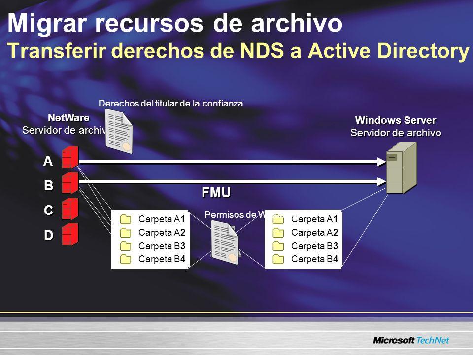Punto central de la administración de migración a través de un cliente conectado a un servidor Windows Generación de informes con un soporte incremental de migración Acceso ininterrumpido del usuario al archivo Es compatible con los protocolos TCP/IP e IPX/SPX y varias versiones de NetWare Migrar recursos de archivo Simplifica el proceso de migración