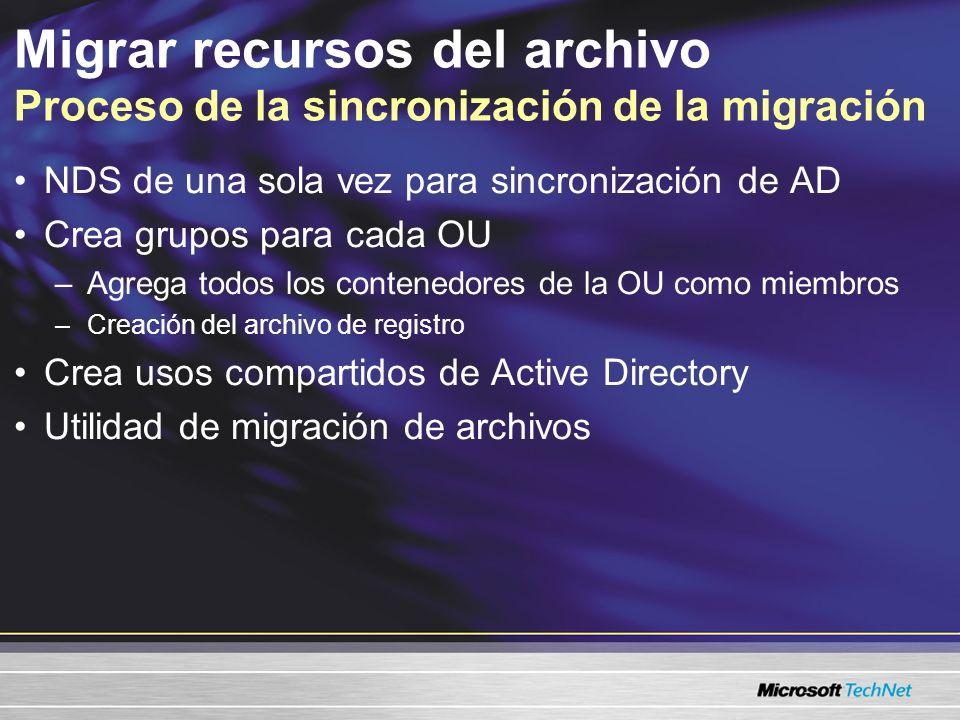Migrar recursos de archivos El escenario de Sydney Equipo de ventas Se migra totalmente de inmediato Conserva los grupos Se mantienen los permisos de archivo Continuidad de la experiencia del usuario