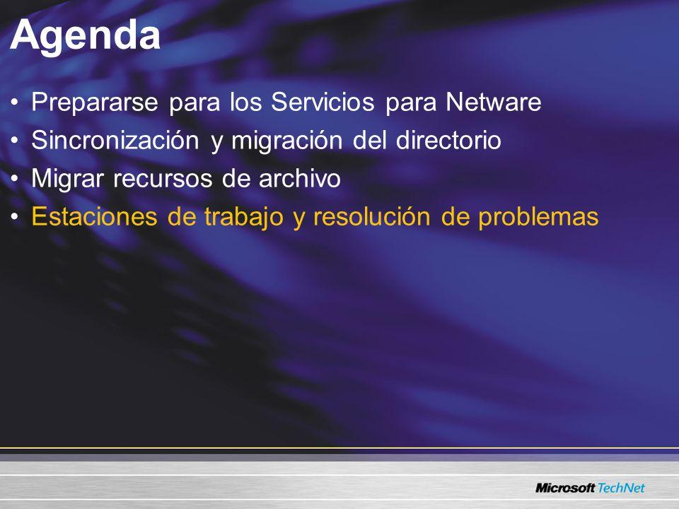 Estaciones de trabajo y resolución de problemas En la estación de trabajo Eliminar el Cliente Novell 32 Eliminar IPX (en caso de estar presente) Unir dominios Restaurar configuraciones –Configuraciones locales –Correlaciones de la red