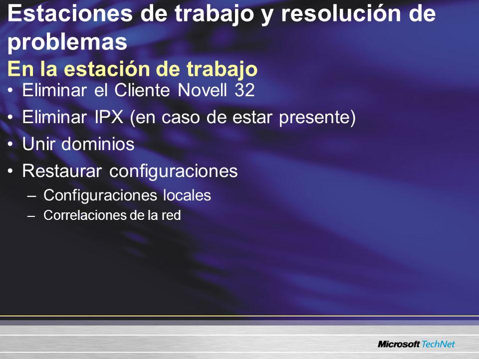 ScanState: Captura las configuraciones de configuración de un sistema heredado LoadState: Se restaura en una estación de trabajo Windows 2000/XP Las configuraciones incluyen: –Mostrar configuraciones (tapiz, colores, fuentes) –Configuraciones IE v4.x / v5.x –Unidades correlacionadas –Opciones de la carpeta –Configuraciones de la red de marcación –Configuraciones del perfil de Outlook Estaciones de trabajo y resolución de problemas Herramienta de migración del estado del usuario