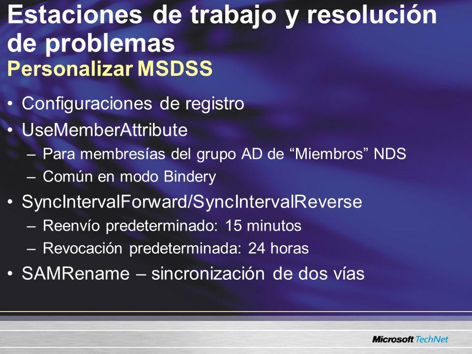 Estaciones de trabajo y resolución de problemas Personalizar MSDSS Configuraciones de registro UseMemberAttribute –Para membresías del grupo AD de Miembros NDS –Común en modo Bindery SyncIntervalForward/SyncIntervalReverse –Reenvío predeterminado: 15 minutos –Revocación predeterminada: 24 horas SAMRename – sincronización de dos vías