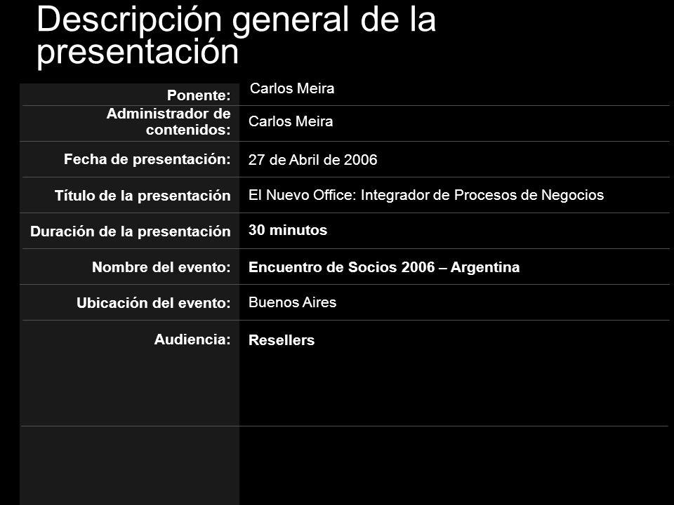 Descripción general de la presentación El Nuevo Office: Integrador de Procesos de Negocios Ponente: Administrador de contenidos: Título de la presenta
