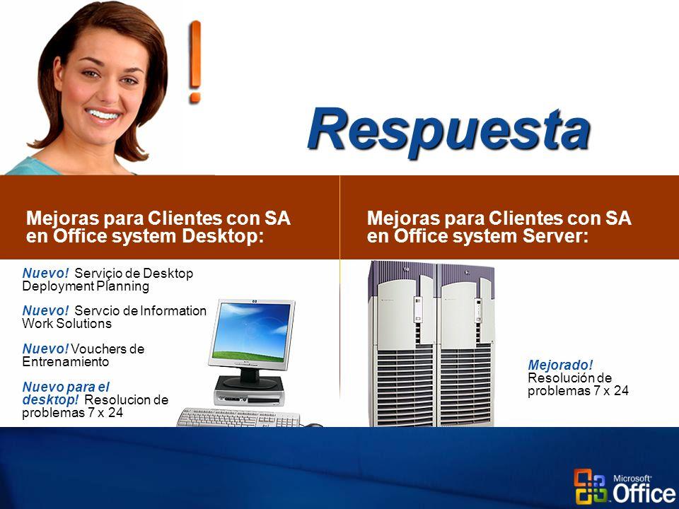 Mejoras para Clientes con SA en Office system Desktop: Respuesta Mejoras para Clientes con SA en Office system Server: Mejorado.