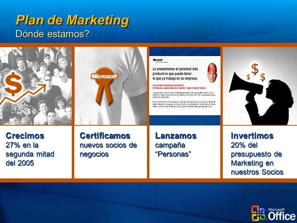 Invertimos 20% del presupuesto de Marketing en nuestros Socios LanzamoscampañaPersonas Certificamos nuevos socios de negocios Crecimos 27% en la segunda mitad del 2005 Plan de Marketing Dónde estamos?