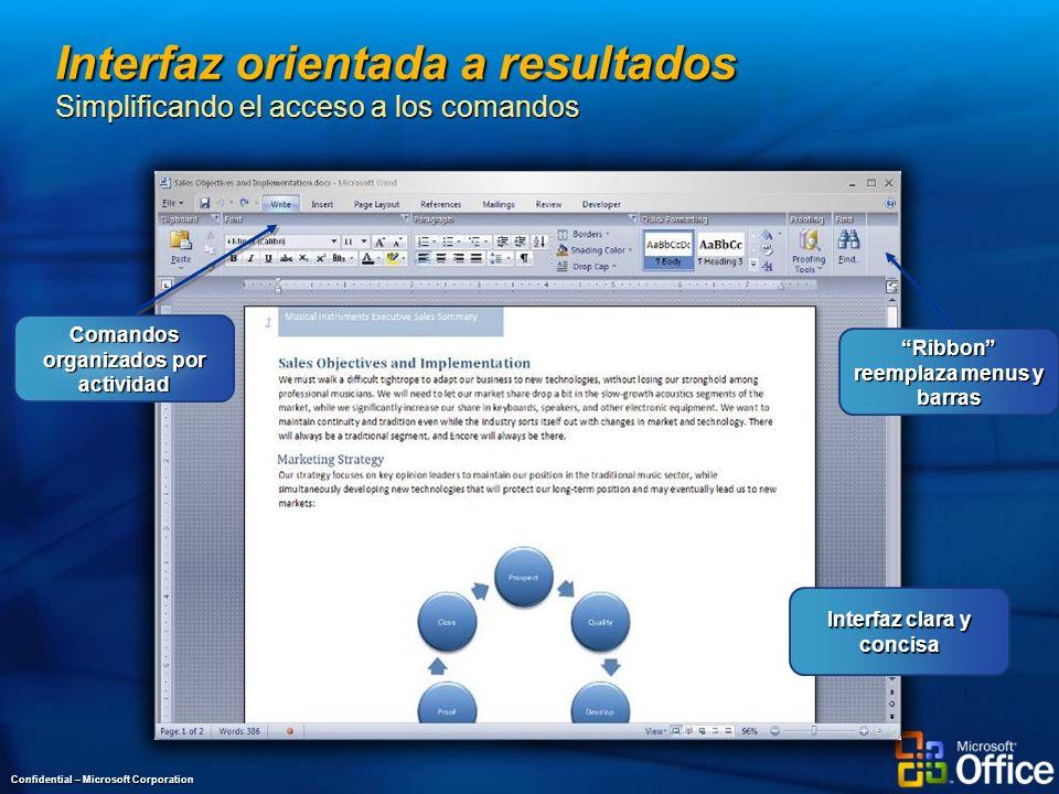 Interfaz orientada a resultados Simplificando el acceso a los comandos Confidential – Microsoft Corporation Interfaz clara y concisa Ribbon reemplaza