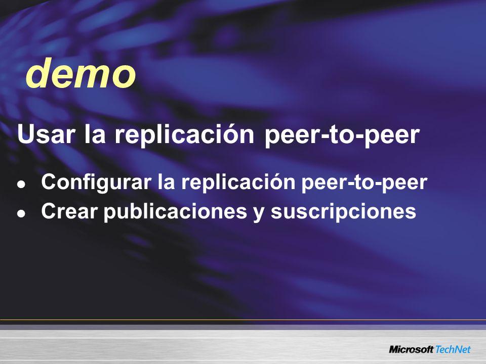 Usar la replicación peer-to-peer Configurar la replicación peer-to-peer Crear publicaciones y suscripciones demo