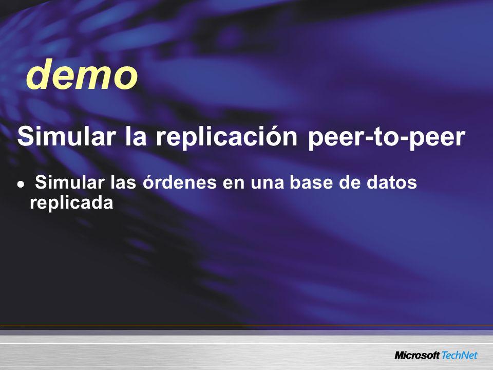 Simular la replicación peer-to-peer Simular las órdenes en una base de datos replicada demo
