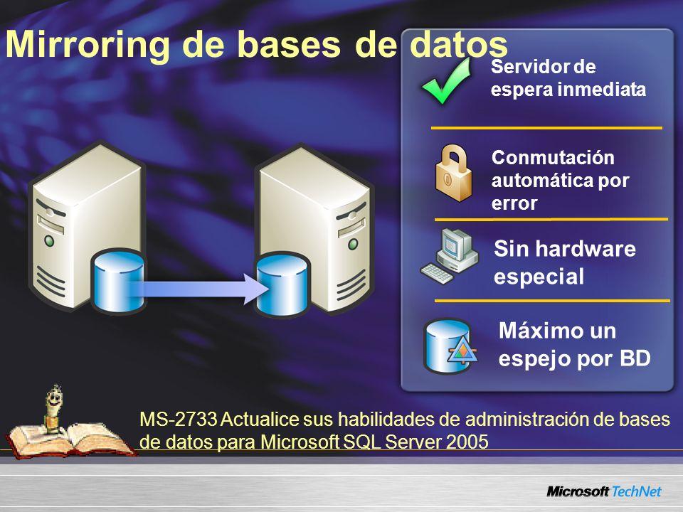 MS-2733 Actualice sus habilidades de administración de bases de datos para Microsoft SQL Server 2005 Servidor de espera inmediata Máximo un espejo por BD Sin hardware especial Conmutación automática por error Mirroring de bases de datos