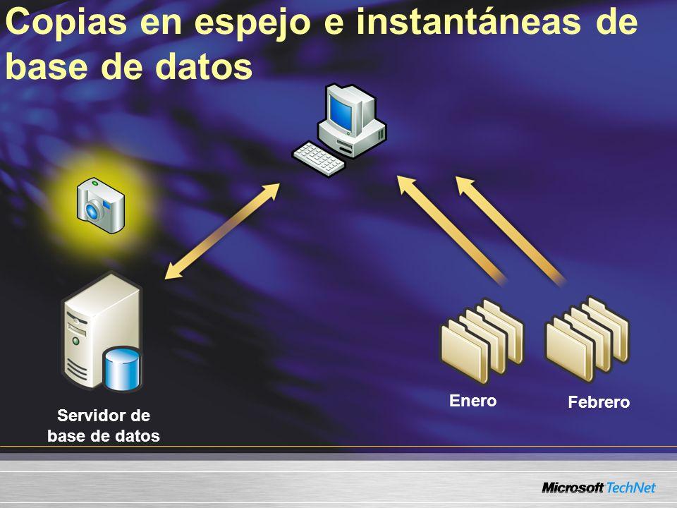 Copias en espejo e instantáneas de base de datos Servidor de base de datos Febrero Enero