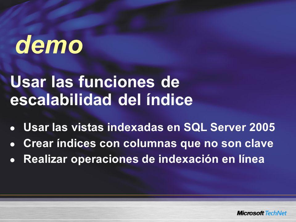 Usar las funciones de escalabilidad del índice Usar las vistas indexadas en SQL Server 2005 Crear índices con columnas que no son clave Realizar operaciones de indexación en línea demo