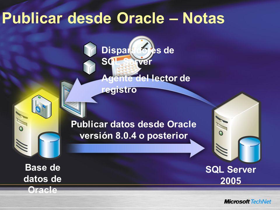 Publicar desde Oracle – Notas Base de datos de Oracle SQL Server 2005 Publicar datos desde Oracle versión 8.0.4 o posterior Disparadores de SQL Server Agente del lector de registro