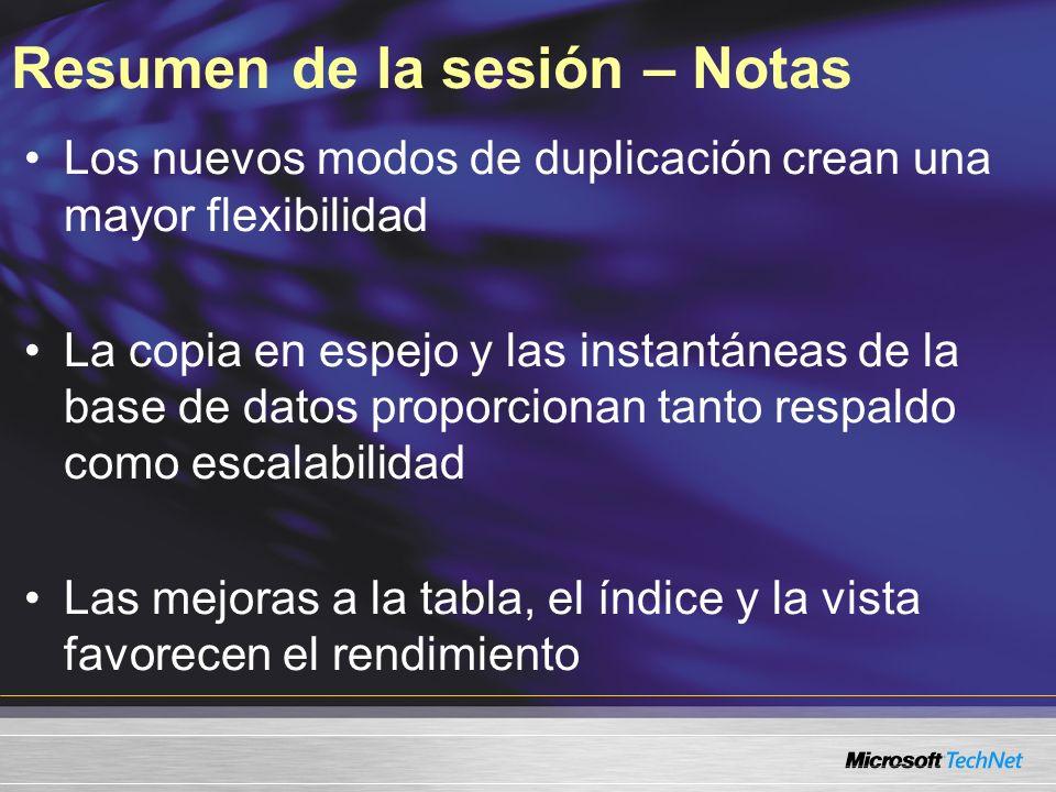 Resumen de la sesión – Notas Los nuevos modos de duplicación crean una mayor flexibilidad La copia en espejo y las instantáneas de la base de datos pr