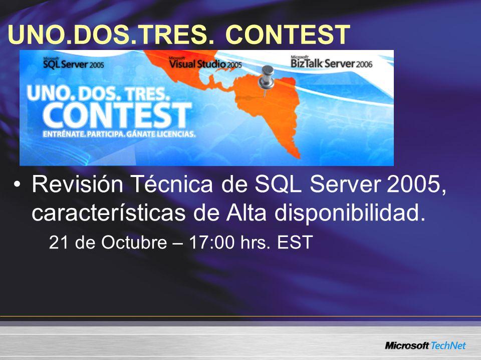 UNO.DOS.TRES. CONTEST Revisión Técnica de SQL Server 2005, características de Alta disponibilidad. 21 de Octubre – 17:00 hrs. EST