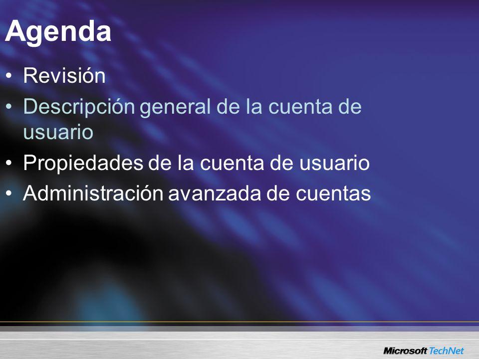 Agenda Revisión Descripción general de la cuenta de usuario Propiedades de la cuenta de usuario Administración avanzada de cuentas