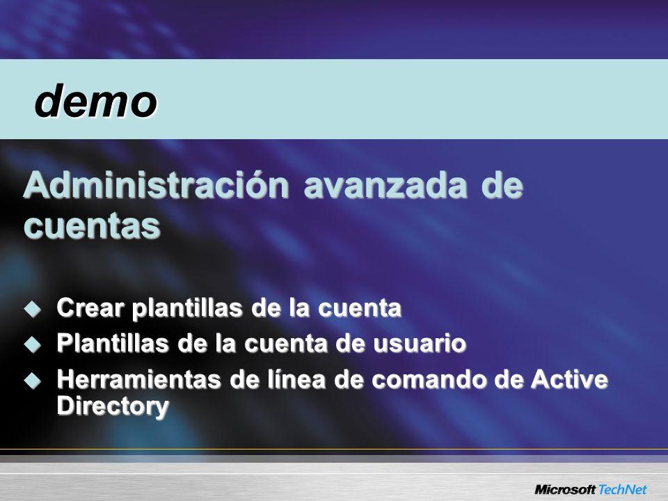 Administración avanzada de cuentas Administración avanzada de cuentas Crear plantillas de la cuenta Crear plantillas de la cuenta Plantillas de la cuenta de usuario Plantillas de la cuenta de usuario Herramientas de línea de comando de Active Directory Herramientas de línea de comando de Active Directory demo demo