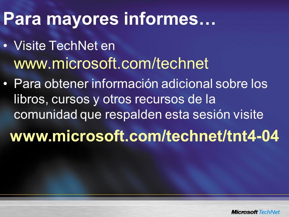 Para mayores informes… Visite TechNet en www.microsoft.com/technet Para obtener información adicional sobre los libros, cursos y otros recursos de la comunidad que respalden esta sesión visite www.microsoft.com/technet/tnt4-04