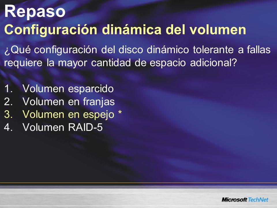 Repaso Configuración dinámica del volumen ¿Qué configuración del disco dinámico tolerante a fallas requiere la mayor cantidad de espacio adicional.