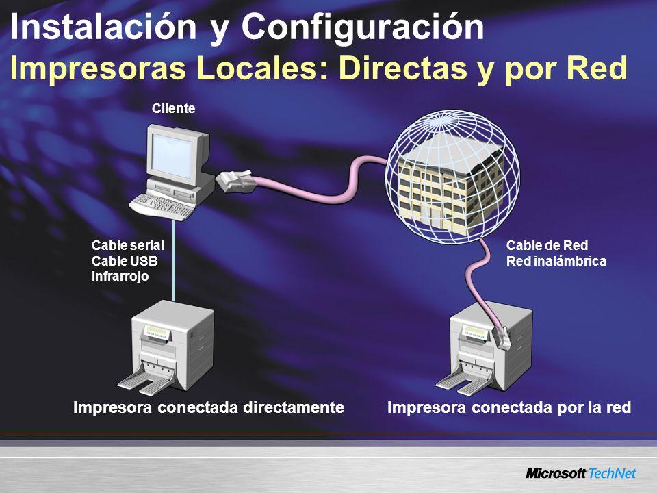 Instalación y Configuración Impresoras Locales: Directas y por Red Impresora conectada directamenteImpresora conectada por la red Cable serial Cable USB Infrarrojo Cable de Red Red inalámbrica Cliente