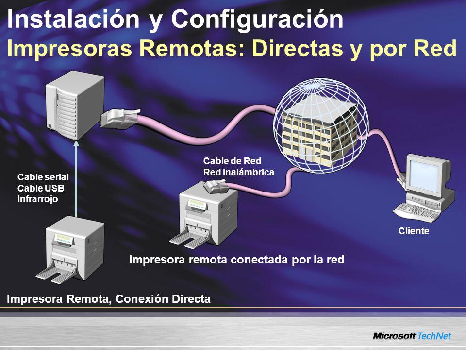 Instalación y Configuración Impresoras Remotas: Directas y por Red Impresora Remota, Conexión Directa Impresora remota conectada por la red Cable serial Cable USB Infrarrojo Cable de Red Red inalámbrica Cliente