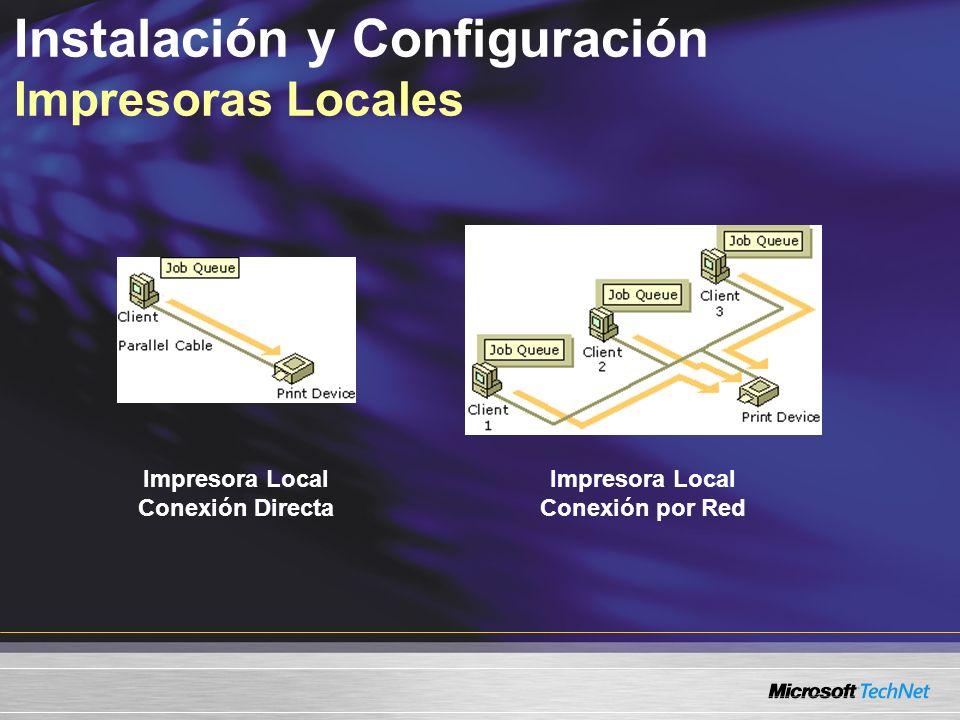 Instalación y Configuración Impresoras Locales Impresora Local Conexión Directa Impresora Local Conexión por Red