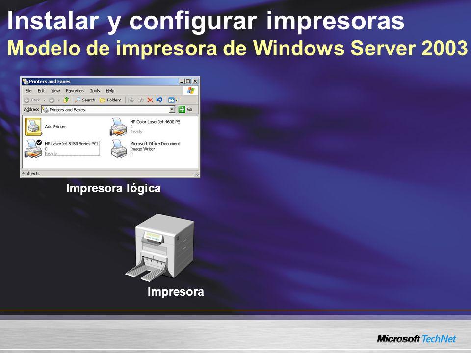 Instalar y configurar impresoras Modelo de impresora de Windows Server 2003 Impresora Impresora lógica