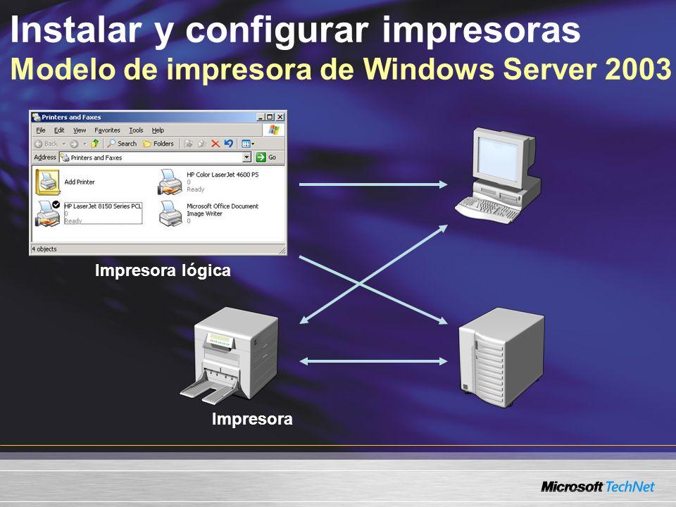 Impresora Impresora lógica Instalar y configurar impresoras Modelo de impresora de Windows Server 2003