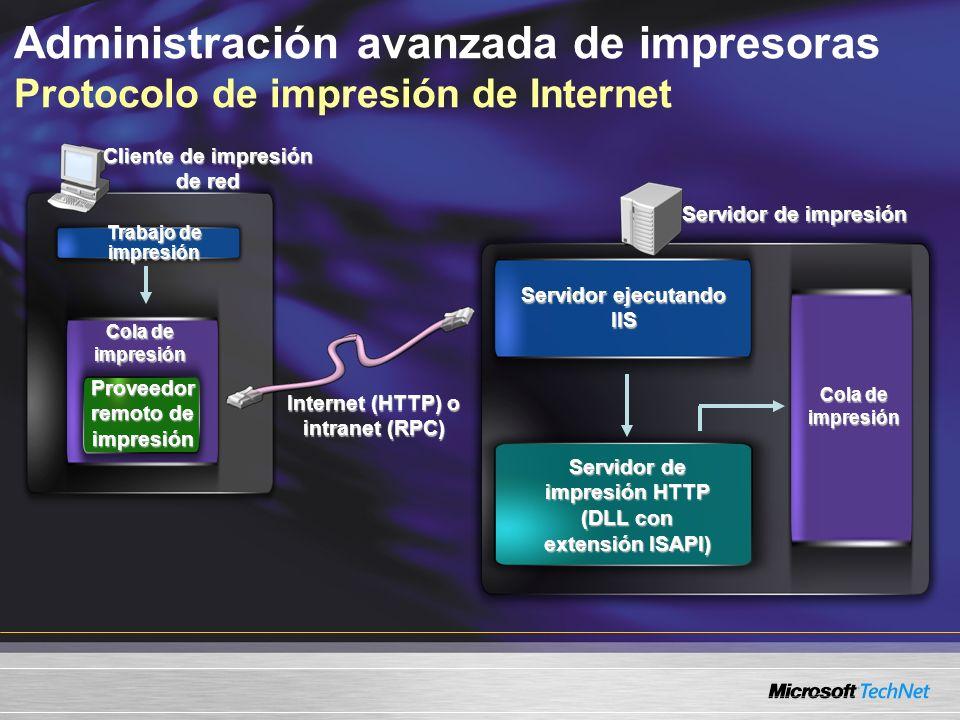 Administración avanzada de impresoras Protocolo de impresión de Internet Trabajo de impresión Cola de impresión Servidor de impresión HTTP (DLL con extensión ISAPI) Servidor ejecutando IIS Proveedor remoto de impresión Cola de impresión Cliente de impresión de red Servidor de impresión Internet (HTTP) o intranet (RPC)